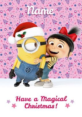 Despicable Me Agnes & Stuart Personalised Christmas Card