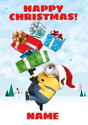 Despicable Me Stuart Personalised Christmas Card