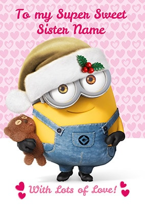Despicable Me Sister Personalised Christmas Card