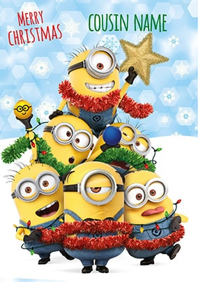 despicable me cousin personalised christmas card