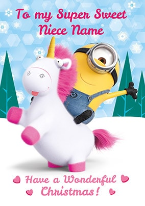 Despicable Me Niece Personalised Christmas Card