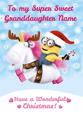 Despicable Me Granddaughter Personalised Christmas Card