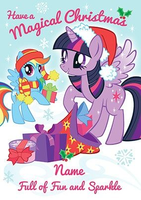 Magical Christmas My Little Pony Personalised Card