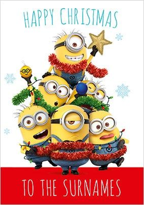 Happy Christmas Minions Family Personalised Card