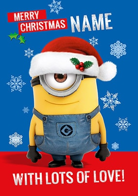 christmas minion with lots of love personalised card