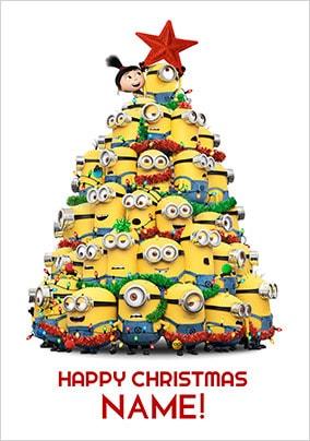 minions christmas tree personalised card - Minions Christmas Tree