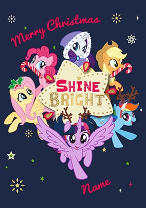 Mlp Christmas.My Little Pony Shine Bright Personalised Christmas Card