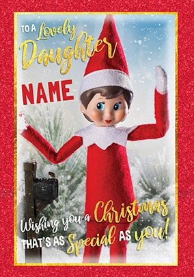 Elf on the Shelf - Lovely Daughter Personalised Card