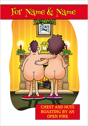 Humour Christmas Card Chest & Nuts - Emotional Rescue