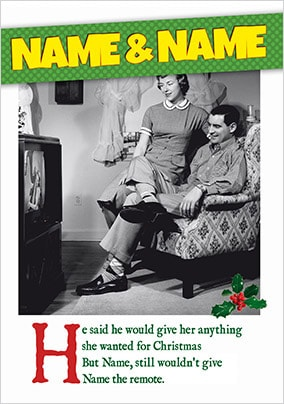 Humour Christmas Card The TV Remote - Emotional Rescue