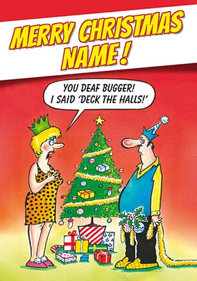 Deck The Halls Personalised Christmas Card