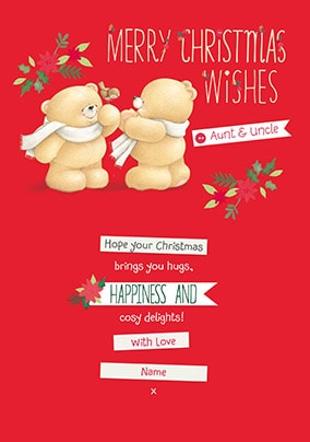 Christmas Wishes Aunt & Uncle Personalised Cards