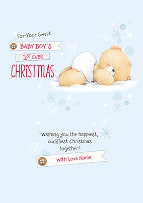 Baby Boy's First Christmas Personalised Card