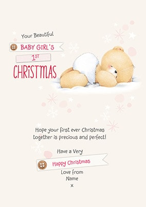 Baby Girl's First Christmas Personalised Card