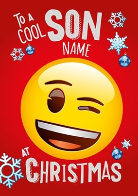 Cool Son Emoji Personalised Christmas Card