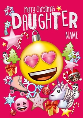 daughter emoji personalised christmas card - Merry Christmas Daughter