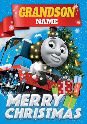 Grandson Thomas The Tank Engine Personalised Christmas Card