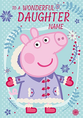 Daughter Peppa Pig Personalised Christmas Card