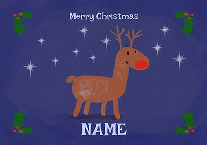 Merry Christmas Rudolph Personalised Card
