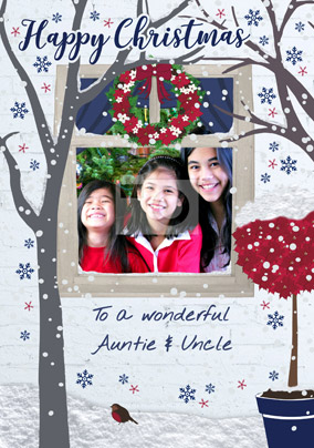 Auntie & Uncle Photo Upload Christmas Card - Home Sweet Home
