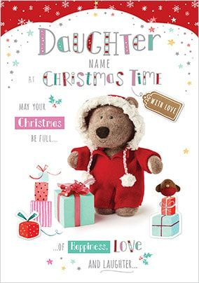 Barley Bear - Daughter at Christmas Personalised Card