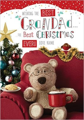 Barley Bear - Grandad at Christmas Personalised Card