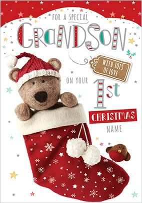 Barley Bear - Grandson's 1st Christmas Personalised Card