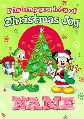 Donald Duck Christmas.Mickey Mouse Donald Duck Christmas Joy Card