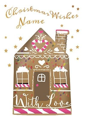 Gingerbread House Personalised Christmas Card