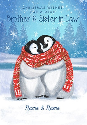 Brother & Sister-In-Law Penguins Personalised Christmas Card