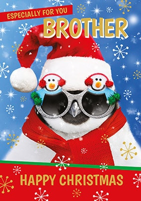 Brother at Christmas Penguin Personalised Card