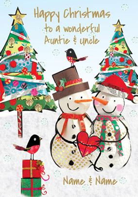 Auntie & Uncle Christmas Card - Snow Couple Paper Rose