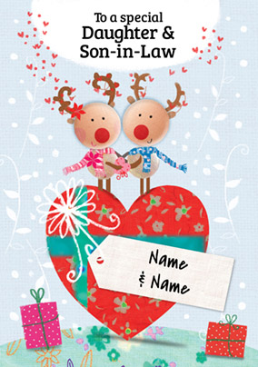 Daughter & Son-in-Law Christmas Card - Reindeer Couple Paper Rose