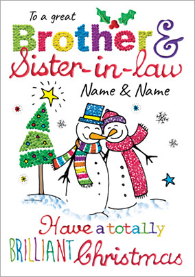 Brother & Sister-in-Law Christmas Card - Happy Snow Couple Paper Rose