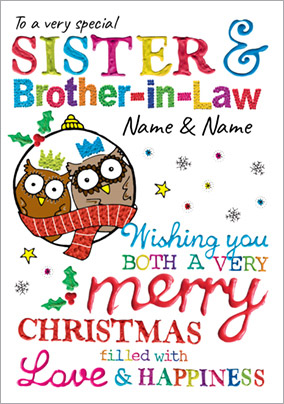 Merry Christmas Sister.Sister Brother In Law Christmas Card Christmas Owls Paper Rose