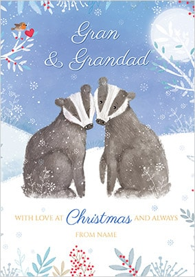 Gran & Grandad at Christmas Personalised Card