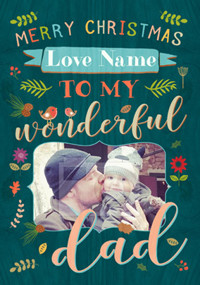 Dad Photo Upload Christmas Card - Paper Wood