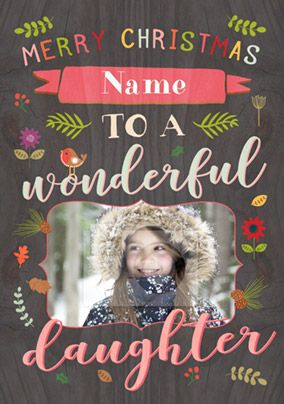Daughter Photo Upload Christmas Card - Paper Wood