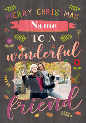 Friend Photo Upload Christmas Card - Paper Wood