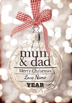 Glitter Baubles - Mum & Dad Christmas Card