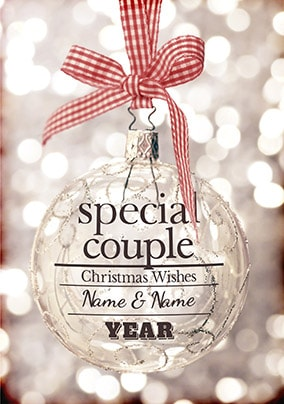Glitter Baubles Christmas Card - Christmas Couple