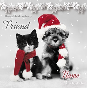Cat and Dog at Christmas personalised card - Furry Friends