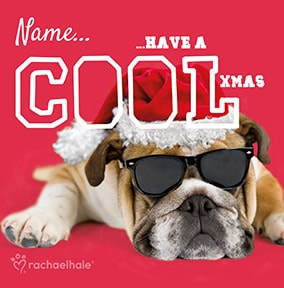 Cool Christmas Bulldog Personalised Card