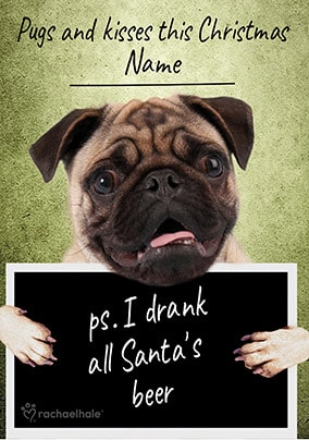 8d8e7296d30 Pugs and Kisses Personalised Christmas Card. NO. preview image is not found