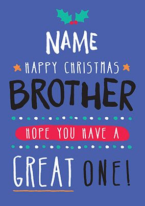 Brother Christmas Card Great One! - Rock, Paper, Awesome