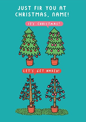 Let's Get Naked Personalised Christmas Card