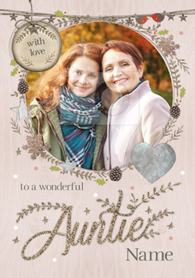 Auntie Photo Upload Christmas Card With Love - Winter Wonderland