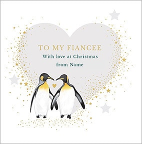 Fiancée with Love Personalised Christmas Card
