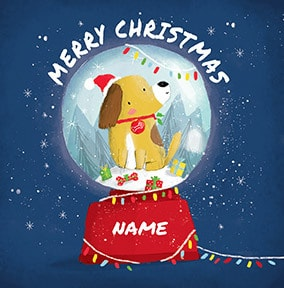 Dog Snow Globe Personalised Christmas Card