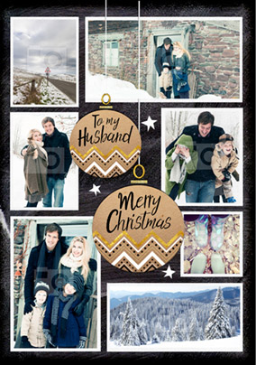 Husband Photo Upload Christmas Card Multi - Black & Gold